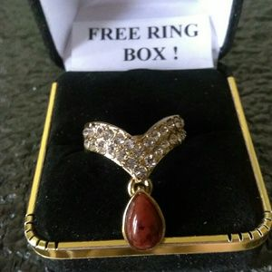 Jewelry - Tibet Silver-Gold Suspended Stone Ring-Sz 7